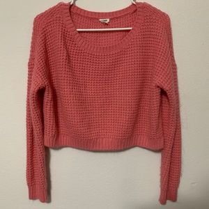 Garage Cropped Knitted Sweater (Pink)
